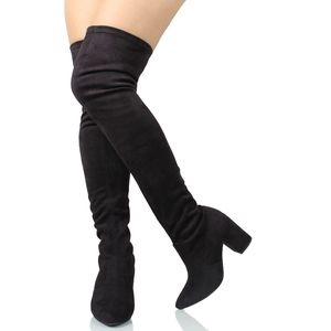 Shoes - Black Faux Suede Pointy toe Over the Knee boot